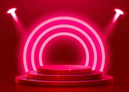 Abstract round podium illuminated with spotlight. Award ceremony concept. Stage backdrop. Vector illustration Stockfoto - 133422177