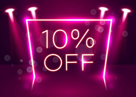 Sale glowing neon sign. Light vector background for your advertise, discounts and business. Vector illustration Stockfoto - 133422126