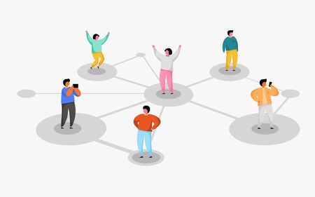 Connecting people. Social network concept. Refer a friend program. Vector illustration Stock Illustratie