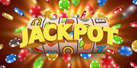 Slot machine with flying casino chips wins the jackpot. Big win concept. Vector illustration