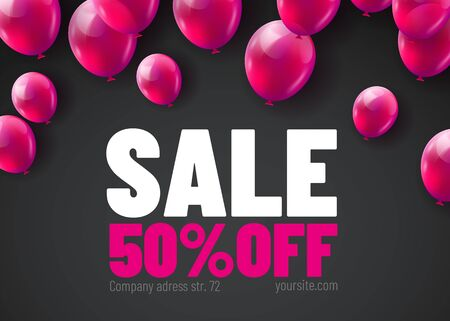 Black Friday Sale Poster with Shiny Balloons Bunch Isolated on Black Background. Vector illustration.