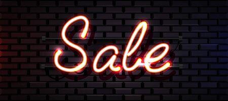 Leuchtreklame, das Wort Sale auf dunklem Backsteinmauerhintergrund. Rabatthintergrund für Ihr Design, Grußkarte, Banner. Vektor-Illustration