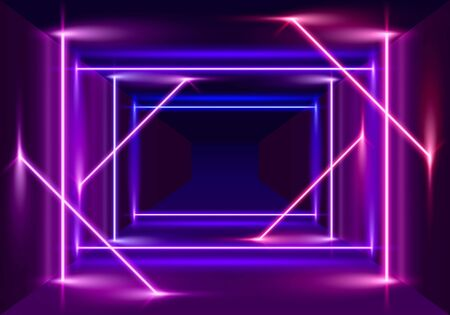 Neon scene, laser show on the night background. Vector illustration