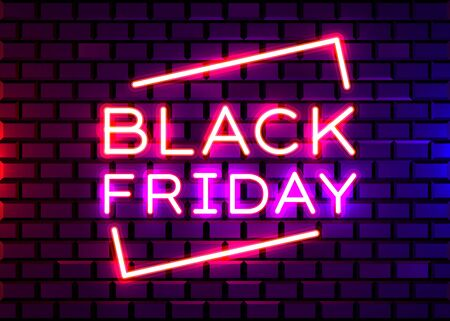 Black Friday realistic isolated neon sign for decoration and covering on brick background. Concept of sale, clearance and discount.