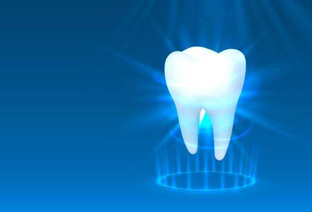 Tooth on a blue background, template design element, Vector illustration Illustration