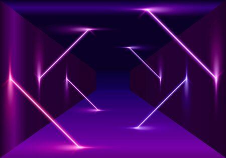 Neon scene, laser show on the night background. Vector illustration Stock Vector - 133696375