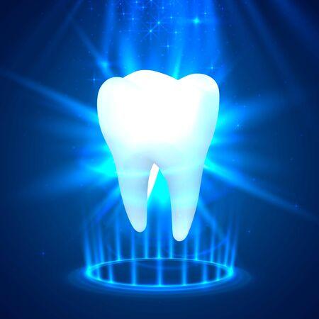 Tooth on a blue background, template design element, Vector illustration Illusztráció