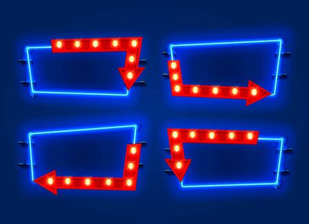 Neon frame arrow set collection. template design element. Vector illustration 写真素材 - 133696494