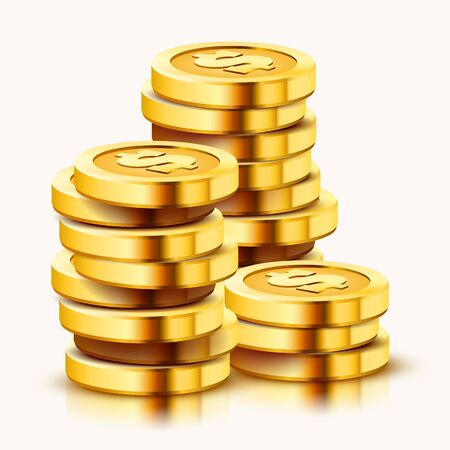 Growing stack of golden dollar coins isolated on white background. Economics concept. Vector illustration Ilustracja