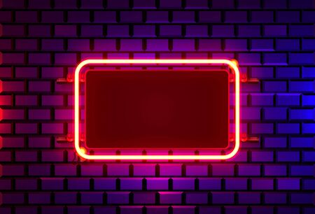 Neon frame on a brick colored wall. template design element. Vector illustration 写真素材 - 133696747