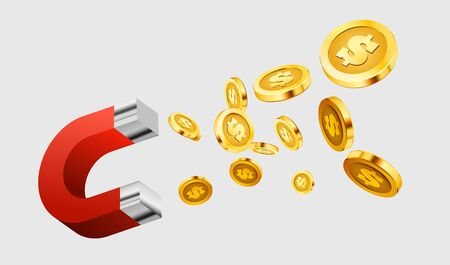 Magnet attracts money. The concept of investing. Vector illustration Ilustracja