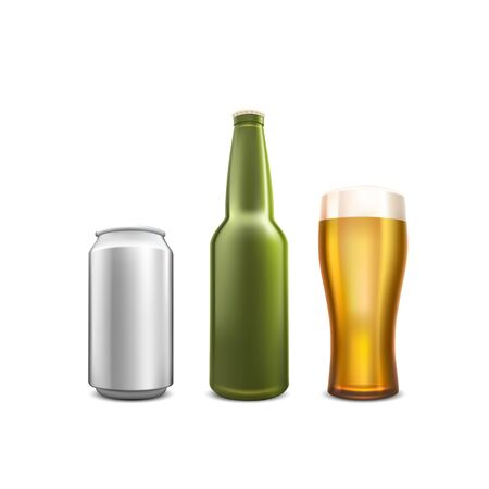 Beer collection set object on the white background. Vector illustration