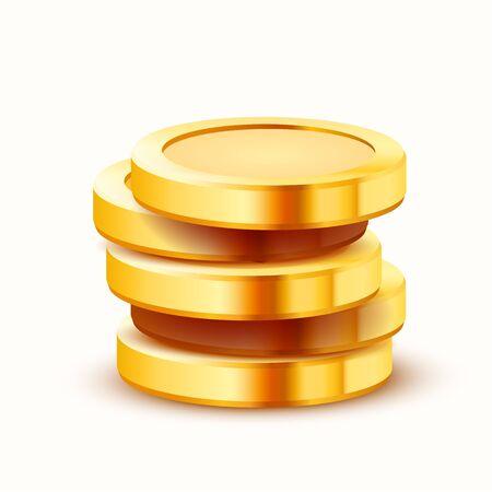 Stack of golden dollar isolated on white background. Vector illustration