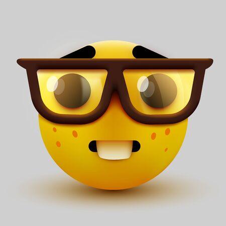 Emoji faccia da nerd, emoticon intelligente con gli occhiali. Geek o studente. Illustrazione vettoriale