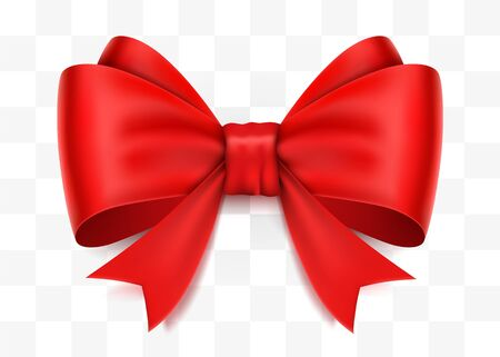 Realistic red bow isolated on transparent background. Foto de archivo - 133691386
