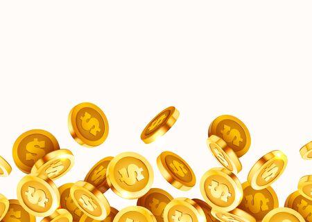 Falling coins, falling money, flying gold coins, golden rain. Jackpot or success concept. Modern background. Vector illustration Standard-Bild - 133691461