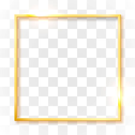 Gold shiny vintage border isolated on transparent background. Golden luxury realistic rectangle frame. Vector illustration Foto de archivo - 133691569
