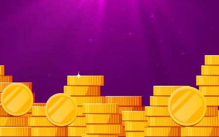 A lot of coins with light beam. Jackpot or success concept. Modern background. Vector illustration