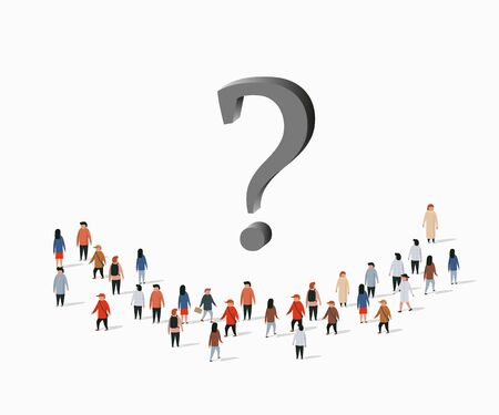Group of people with question mark. Problem solving concept. Vector illustration