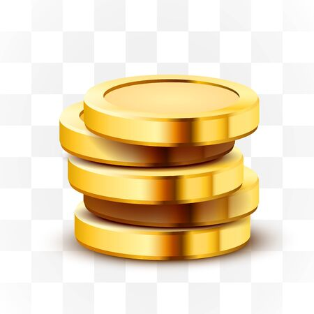 Stack of golden dollar coins isolated on transparent background. Vector illustration Ilustracja
