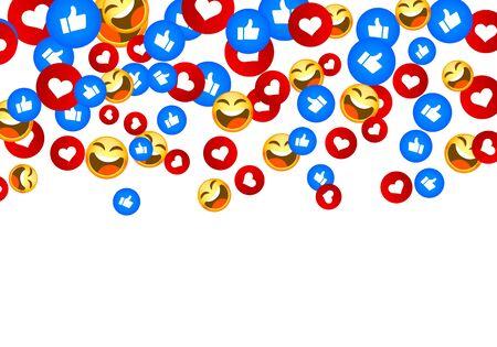 Banner fly like emoji hand social network. white background. Vector illustration