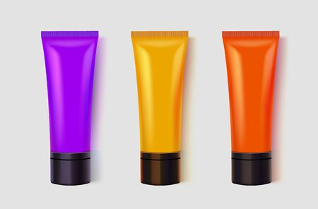 Set of colorful tubes. Acrylic painting or cosmetics concept. Artist or makeup background. Vector illustration Ilustracja