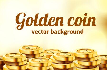 Falling coins, falling money, flying gold coins, golden rain. Jackpot or success concept. Modern background. Vector illustration Standard-Bild - 133697295