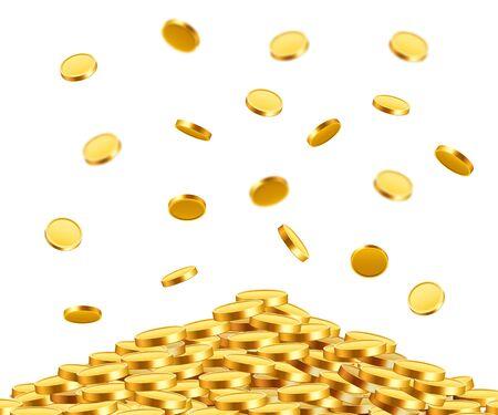 Falling coins, falling money, flying gold coins, golden rain. Jackpot or success concept. Modern background. Vector illustration Standard-Bild - 133691933