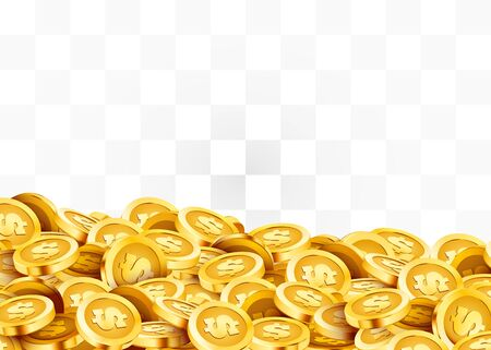 Golden shiny coins. Big bunch of dollars. Rich or casino luck concept. Vector illustration Standard-Bild - 133697314