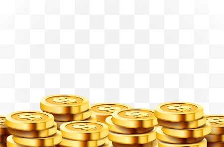 A lot of coins on transparent background. Jackpot or success concept. Modern background. Vector illustration