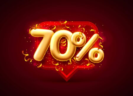 Sale 70 off balloon number on the red background. Vector illustration