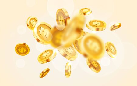 Falling coins, falling money, flying gold coins, golden rain. Jackpot or success concept. Modern background. Vector illustration Standard-Bild - 133698581