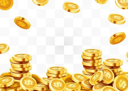 Falling coins, falling money, flying gold coins, golden rain. Jackpot or success concept. Modern background. Vector illustration Standard-Bild - 133698843