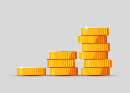 Growing stack of golden dollar coins isolated on white background. Economics concept. Vector illustration 向量圖像