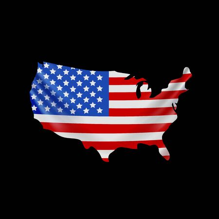 USA flag in form of map. United States of America. National flag concept. Vector illustration.