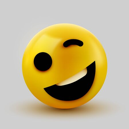 Emoji yellow winking face. Funny cartoon emoticon icon. 3D illustration for chat or message. Vector illustration