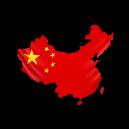 China flag in form of map. People Republic of China. National flag concept. Vector illustration.
