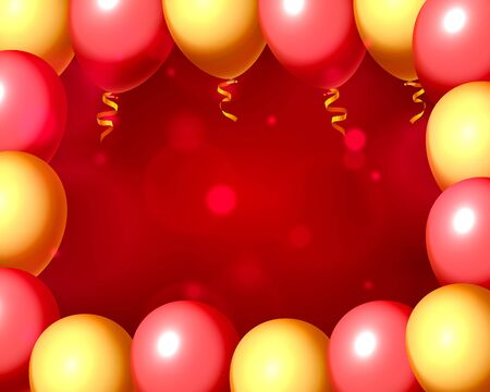 Festive balloon in an empty frame, color red and yellow. Vector illustration Foto de archivo - 133699465