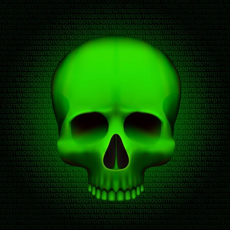 Skull is a program virus, On digital background. Vector illustration
