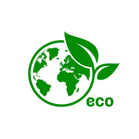 Ecology organic green planet earth. sign on a white background. Vector illustration Ilustração