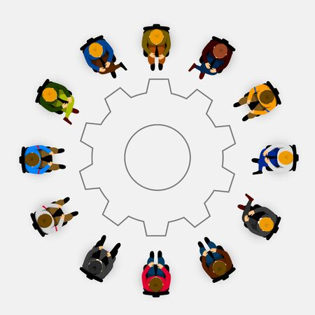 People sitting in a circle on white background. Vector illustration Çizim