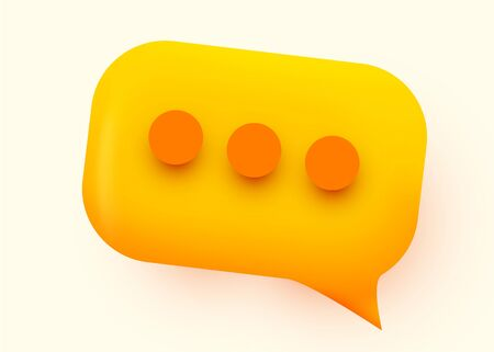 Yellow glossy speech bubble illustration. Social network communication concept. Vector illustration  イラスト・ベクター素材