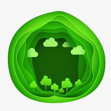 Paper art of eco park on green abstract shape. Origami concept and ecology idea. Vector illustration. Ilustracja