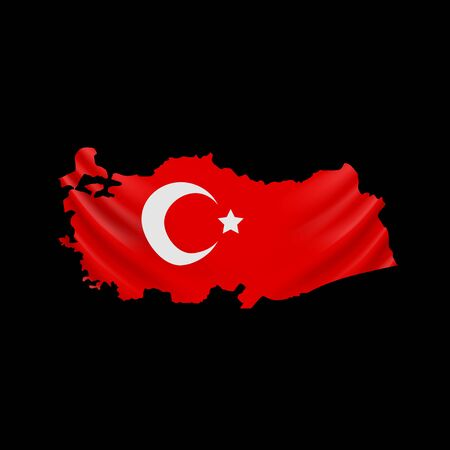 Hanging Turkey flag in form of map. Republic of Turkey. National flag concept. Vector illustration.
