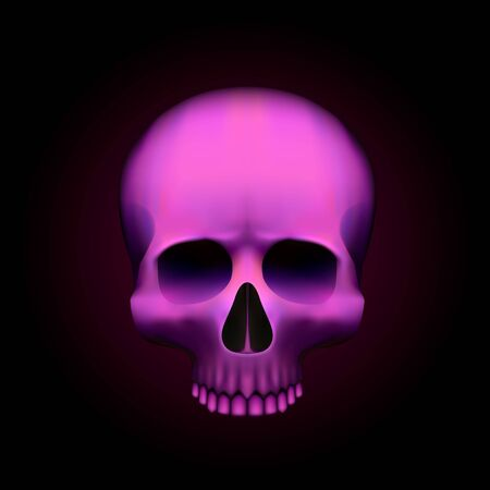 Human skull isolated on black, color pink object. Vector illustration Ilustrace