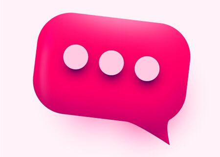 Pink glossy speech bubble illustration. Social network communication concept. Vector illustration