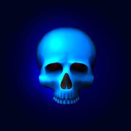 Human skull isolated on black, color blue object. Vector illustration 向量圖像