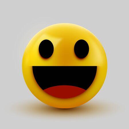 3D smiling ball sign Emoticon Icon Design for Social Network. Grinning emoticon. Emoji, smiley concept. Vector illustration