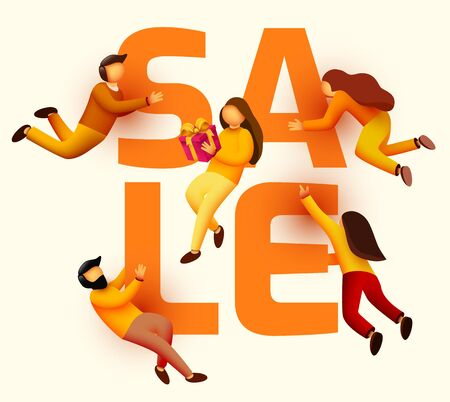 Group of flying people around sale word. Promotion banner. Small people. Vector illustration Ilustrace
