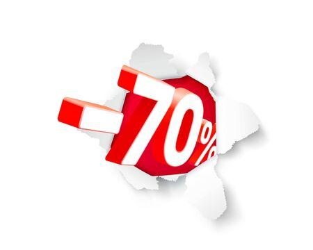 Banner di esplosione di carta 70 di sconto con percentuale di sconto sulle azioni. Illustrazione vettoriale
